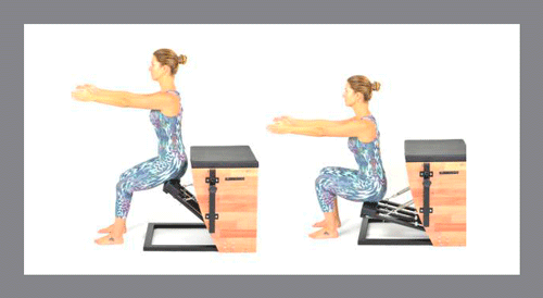 6)-Squat - Exercícios de Pilates na Step Chair